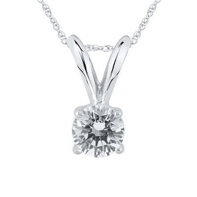 AGS Certified 1/7 Carat Round Diamond Solitaire Pendant in 14K White Gold