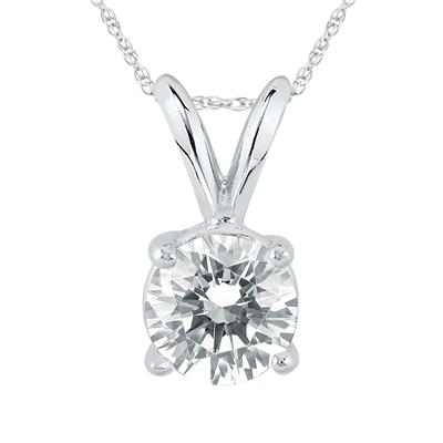 IGI Certified Lab Grown 1 Carat Diamond Solitaire Pendant in 14K White Gold (I Color, SI2 Clarity)