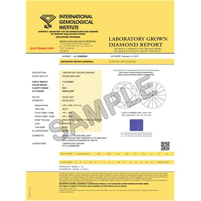 IGI Certified Lab Grown 1 1/10 Carat Diamond Solitaire Pendant in 14K White Gold (J Color, VS2 Clarity)