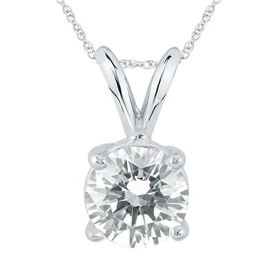 IGI Certified Lab Grown 1 1/10 Carat Diamond Solitaire Pendant in 14K White Gold (J Color, SI1 Clarity)