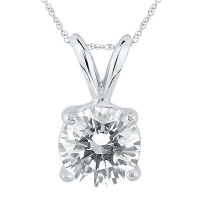 IGI Certified Lab Grown 1 1/4 Carat Diamond Solitaire Pendant in 14K White Gold (I Color, SI1 Clarity)
