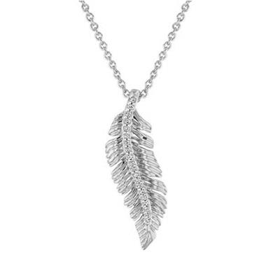 1/10 Carat TW Natural Rose Cut Diamond Leaf Necklace With 18 Inch Chain