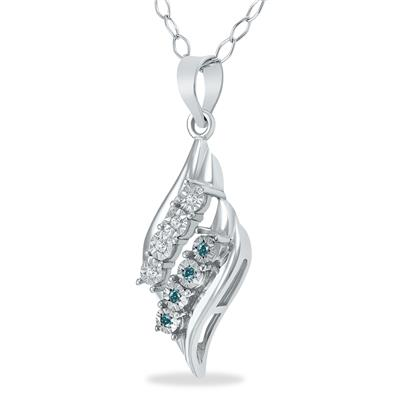 Blue & White Diamond Pendant in .925 Sterling Silver