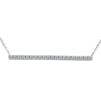 1/5 Carat TW Diamond Bar Necklace in 10K White Gold