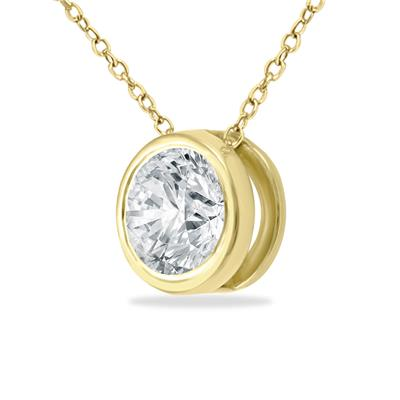 1/3 Carat Diamond Bezel Pendant in 14K Yellow Gold