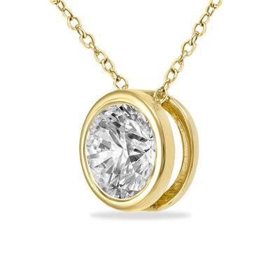 1/2 Carat Round Solitaire Diamond Bezel Set Pendant in 14K Yellow Gold