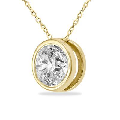 3/4 Carat Diamond Bezel Pendant in 14K Yellow Gold
