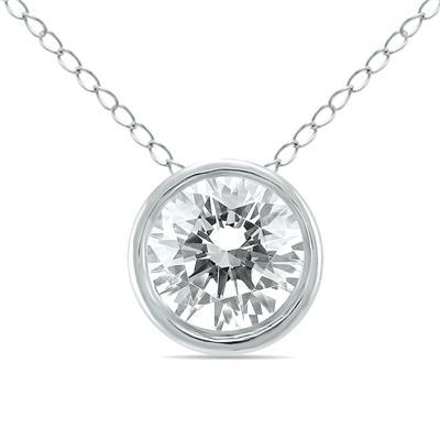 1/3 Carat Diamond Bezel Pendant in 14K White Gold