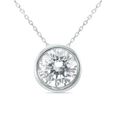 AGS Certified 3/4 Carat Diamond Bezel Pendant in 14K White Gold