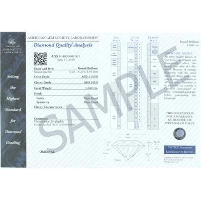 AGS Certified 1 Carat Diamond Bezel Pendant in 14K White Gold