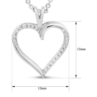 Accent Diamond Heart Necklace in White Rhodium Plated Brass
