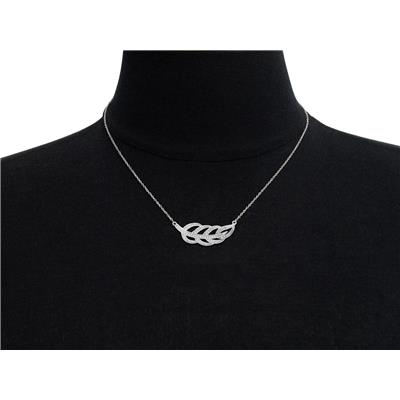 Diamond Accent Leaf Necklace in Rhodium Plated Brass