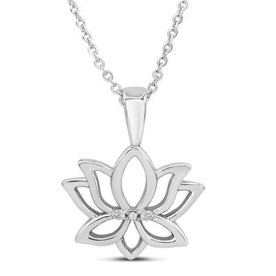 Diamond Accent Lotus Necklace in Rhodium Plated Brass