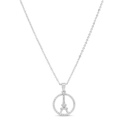 Diamond Eiffel Tower Necklace in Rhodium Plated Brass