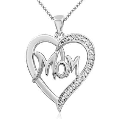 Szul Diamond Accent Mom Heart Necklace in Rhodium Plated Brass