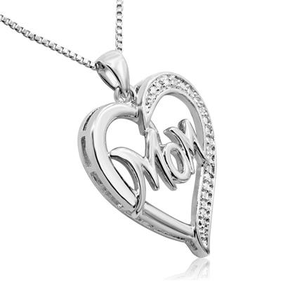 Diamond Accent Mom Heart Necklace in Rhodium Plated Brass