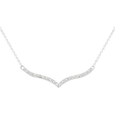 Diamond Curved V Diamond Necklace in Rhodium Plated Brass
