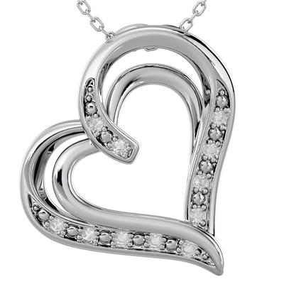 Diamond Heart Pendant in Rhodium Plated Brass