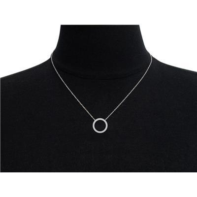 1/4 Carat Diamond Circle Necklace in Rhodium plated Brass