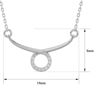 10 Diamond Circle Bar Necklace In Platinum Plated Brass