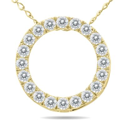 Szul 1/4 Carat TW Diamond Circle Pendant in 10K Yellow Gold
