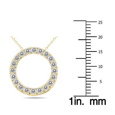 3/4 Carat TW Diamond Circle Pendant in 10K Yellow Gold