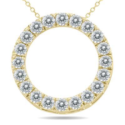 2 Carat TW Diamond Circle Pendant in 10K Yellow Gold