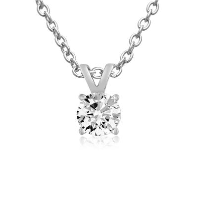 1/4 Carat Moissanite Solitaire Necklace In Sterling Silver, 18 Inches