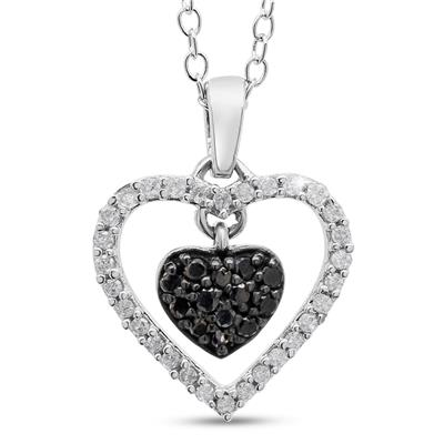 1/2 Carat TW Black and White Diamond Pave Heart Necklace In Sterling Silver, 18 Inches