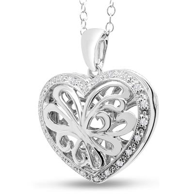 1/10 Carat TW Diamond Heart Locket Necklace In Sterling Silver, 18 Inches