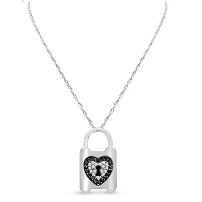 0.63 Carat TW Black and White Diamond Heart Lock Necklace In Sterling Silver, 18 Inches