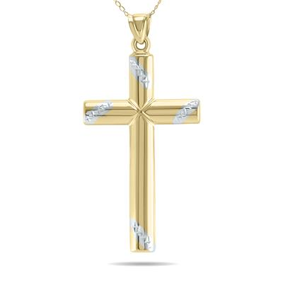 Classic 10K Yellow Gold Banner Cross Pendant with Diamond Cut Finish Accents