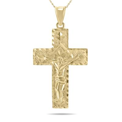 Diamond Cut Crucifixion Cross Pendant Necklace with 18 Inch Chain in 10K Yellow Gold