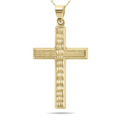 10K Yellow Gold Rope Engraved Cross Pendant with 18 Inch Chain