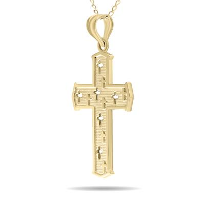 10K Yellow Gold Crosses within Cross Pendant with 18 Inch Chain