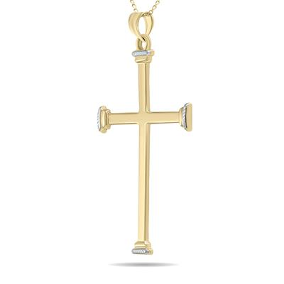 Simple Thin 10K Yellow Gold Cross Pendant Necklace with 18 Inch Chain