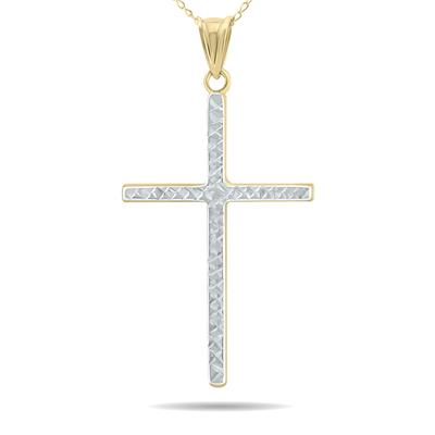 Thin Engraved Cross Pendant in 10K Yellow Gold with Rhodium Plate Finishing and 10K Yellow Gold Chain