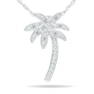 Szul Diamond Palm Tree Pendant in .925 Sterling Silver