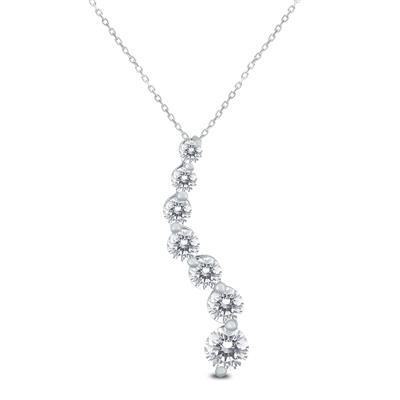 AGS Certified 1/4 Carat TW Diamond Journey Pendant in 10K White Gold