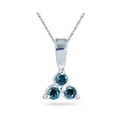 Three Stone Blue Diamond Pendant in 14K White Gold