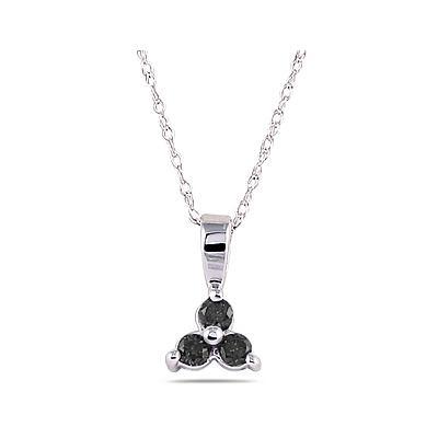 Three Stone Black Diamond Pendant in 14K White Gold