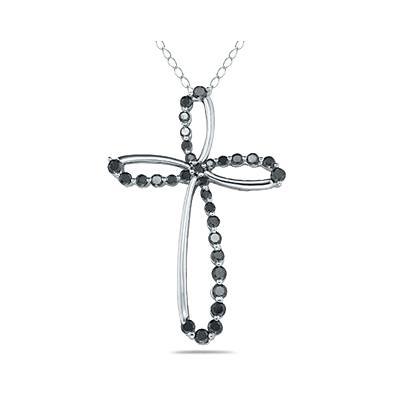1 Carat TW Black Diamond Cross Pendant in 10k White Gold
