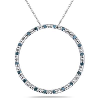 Blue Diamond Circle Pendant in White Gold