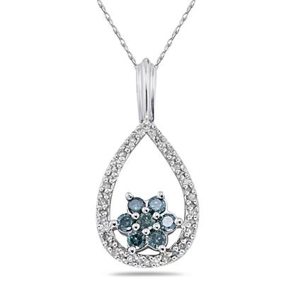 Raindrop White & Blue Diamond Flower Pendant in White Gold
