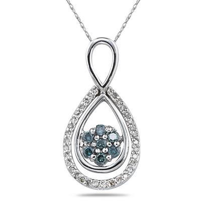 1/3 Carat Blue and White Diamond Flower Drop Pendant in 10K White Gold