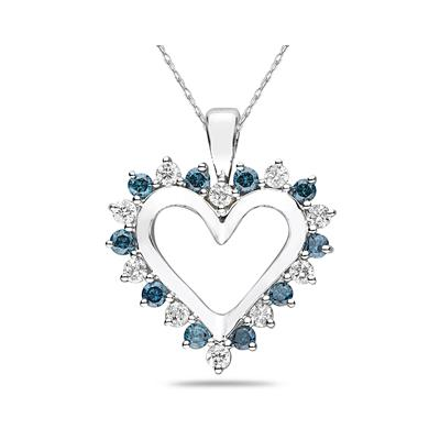 1 Carat TW Blue and White Diamond Heart Pendant in 14K White Gold
