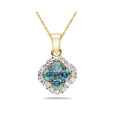 Blue and White Diamond Flower Pendant in 10K Yellow Gold