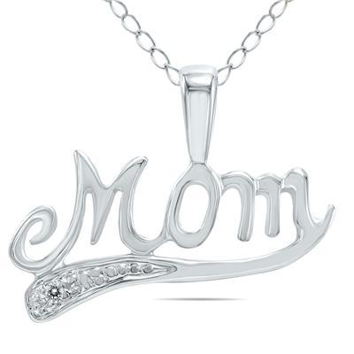 Diamond Mom Pendant in 10K White Gold