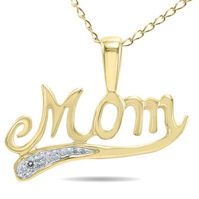 Diamond MOM Pendant in 10K Yellow Gold