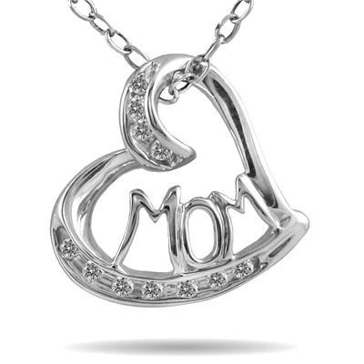 MOM Diamond Heart Pendant 10K White Gold